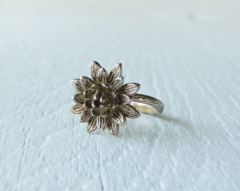 Flower and Branch Sterling Silver Cocktail Ring/Elvish Statement Ring/Woodland/Nature Inspired/Rustic/Floral/Botanical/Forest/925 Silver