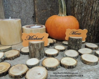 15 small tree branch place card holders for rustic weddings and events