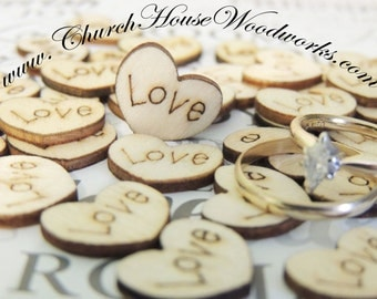 Love Wood Hearts, Wood Confetti Engraved Love Hearts- Rustic Wedding Decor- Table Decorations- Tiny Wooden Hearts