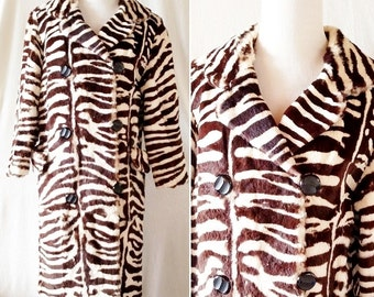 Vintage Zebra Striped Brown and Cream Rabbit Fur Swing Jacket. Medium / Large