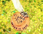 Lucky penny and clover personalized wedding bouquet charm