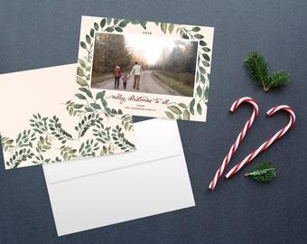 Calligraphy Christmas card, photo card, photo christmas cards, custom christmas card, printable christmas cards, watercolor christmas cards