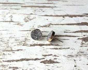 40% OFF // Silver Druzy Stud Earrings