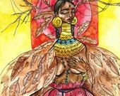 Fine Art Print, Dreamcatcher, watercolor, mixed media, illustration.