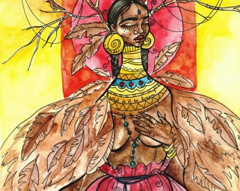 Fine Art Print, Dreamcatcher, watercolor, mixed media, illustration.