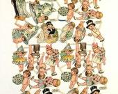 SALE reg 125.00 Antique Wedding Die Cut Scrap Sheet, Bride Groom, Cherubs Cupid, 1910s 1920s Kewpie, Vintage Wedding Bridal Shower Decor