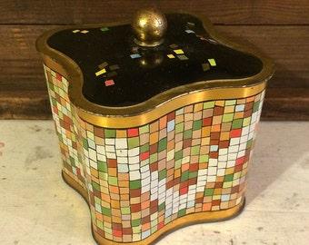 Retro Mosaic Motif Vintage Tin Box Mid Century Modern Tin Box Scalloped Sides