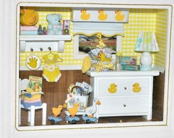 Nursery Room Shadowbox, Baby Shower New Mom Gift, Childs Wall Decor, Miniature Diorama, Handmade, Little Duckling, Yellow, White