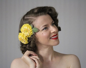 "Hair Flower Set, Yellow Floral Clips, Small Fascinators, 1950s Hair Accessories, Vintage Hairpiece Retro Hair Pieces - ""Lipstick Lemonade"""