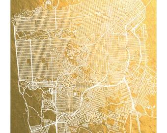 San Francisco Map, Gold Foil Print, San Francisco Print, Gold Foil City Map, Gold Foil Map™, Gift for Traveler, Map Print, Map Wall Art