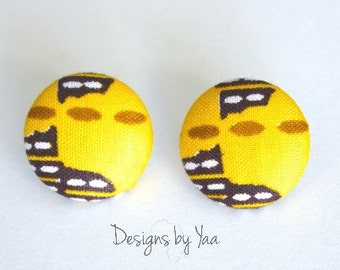 SMALL Yellow Button Earrings
