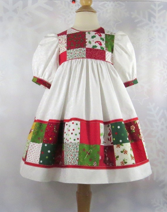 Patchwork party dress baby girl size 18 months christmas handmade