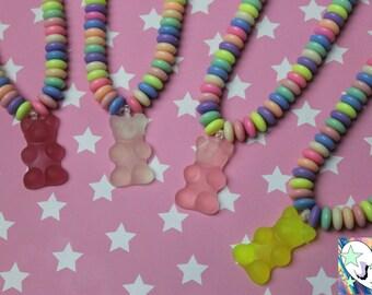 Sweet Candy Gummi Bear Necklace - Kawaii Fair Kei Decora