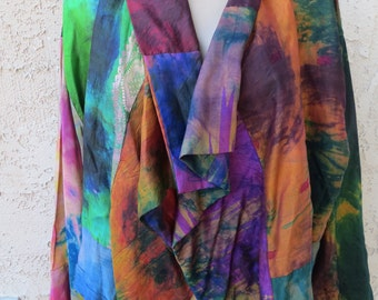 Vintage Indian ethnic tie dye sari silk open front jacket top boho hippie festival