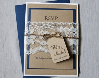 Rustic Navy Wedding Invitation, Lace Wedding Invitation,  Kraft Wedding Invitation, Navy Wedding Invitation, Shabby Chic