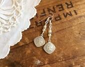 Vintage Saint Christopher Earrings assemblage earrings pearl earrings saint earrings st christopher