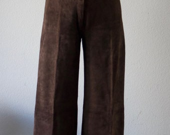 Vintage 1970s Stylish Suede Brown Ted Lapidus Pants