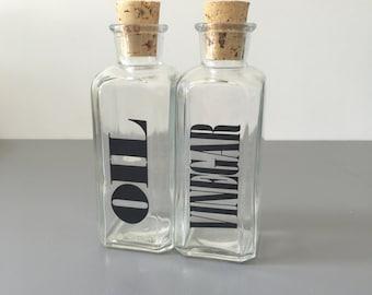 vintage Oil and Vinegar bottles Wheaton Glass typography retro kitchen