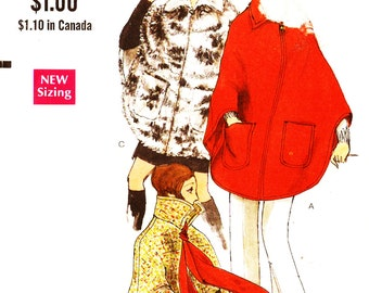 Vogue 7670 Retro 1970s Pullover Collared Poncho with Optional Decorative Trims Sewing Pattern Size M