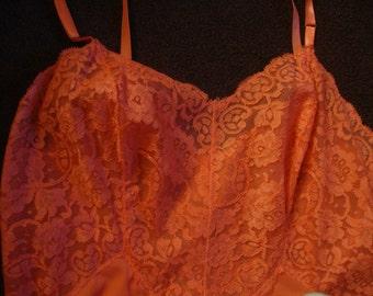vintage orange nylon full slip