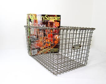 Vintage Locker Basket, Wire Storage Basket, Industrial Baskets, Gym Basket