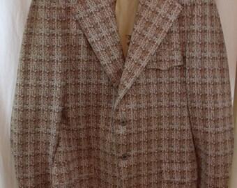 Vintage 1970s Light Brown Funky Polyester Blazer Coat Size XL.