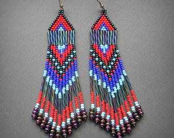 Dangle Earrings, Beaded earrings, Long Dangle Earrings, Seed Bead Earrings