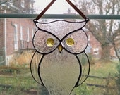 Stained Glass Owl Suncatcher - Bird - Window Decor - Garden Art - Owl Ornament - Nature Decor - Clear Glass Owl - Housewarming Gift