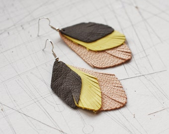 Drop Shape Leather Earrings / Three Layer /Dark Gray/Bright Yellow/Gray