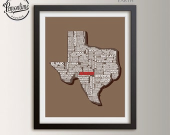 Texas Typography Art Print, Texas Wall Art Print, State Of Texas Map, Texas Part 37