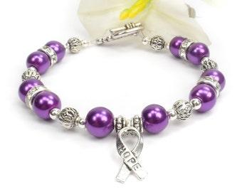 Purple Awareness Bracelet, ADHD, Alzheimer's Disease, Fibromyalgia, Crohn's Disease,  Cystic Fibrosis, Lupus, Pancreatic Cancer