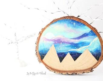 "Wood Slice Art, Small 3.5"" - Mountain Scene, Hand-Painted Wood Slice Painting, Wood Mountain Painting, Wood Painting, Galaxy Painting"