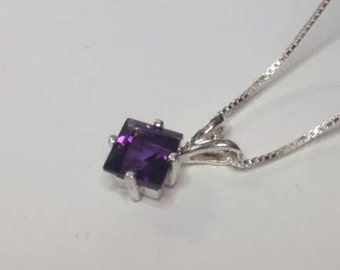 GENUINE 1.5ct Princess Cut Amethyst Sterling Silver Necklace  Pendant Jewelry Trends and Trending Gemstones