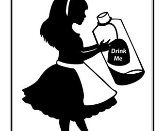Alice in Wonderland silhouette Drink Me