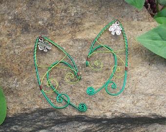 Elf Ear Cuffs - Shamrock Pixie - Elven Jewelry - St. Patrick's Day Jewelry