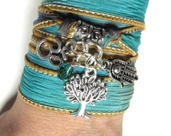 Tree Of Life Wrap Silk Bracelet Yoga Bracelet Hamsa Hand Of Fatima Om Bohemian Spiritual Bracelet Yoga Namaste Zen Jewelry Birthday Gift