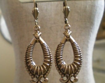 Art Nouveau Deco Victorian Edwardian Vintage Style Ornate Oval Hoop Dangle Earrings Lever Back Stamped Antique Brass