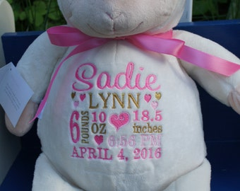 "Personalized Baby Gift, ""Baby Cubbies"" Loverbee Lamb,Birth announcement stuffed animal,keepsake,baby shower gift,Baptism gift,Birthday Gift"