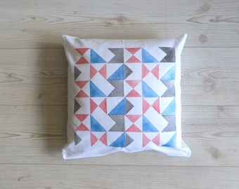 Cushion cover: 'Signals' design handprinted on white cotton