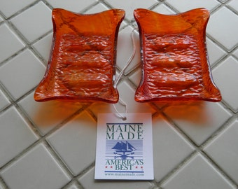 Red Orange Textured Transparent Stained Glass Soap Dish