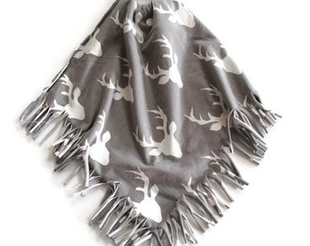 Tan Buck Fringe Teething Lovie Security Blanket - Lovie Blanket - Teething Blanket - Baby Blanket