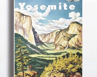 Vintage Yosemite National Park Poster Art Print Illustration Nature Print Yosemite Poster Yosemite Print Travel Poster Wall Decor