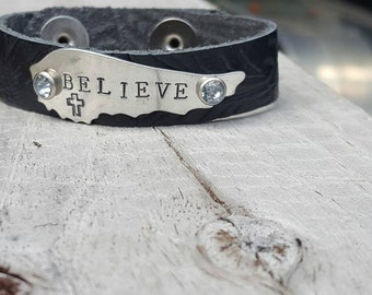 Believe Hand Stamped Leather Cuff