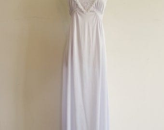Vintage Pale Lilac Purple and White Lace Maxi Nightgown