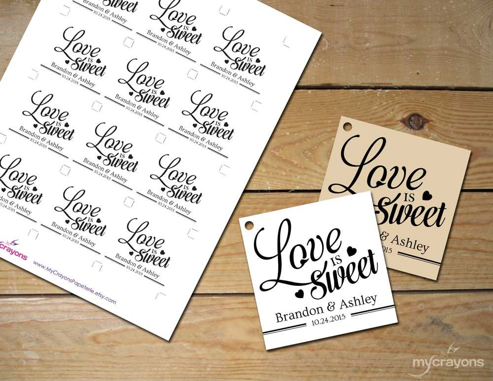 Love Is Sweet Wedding Gift Tags : Printable Love is Sweet Tags // DIY Printable Wedding Favor