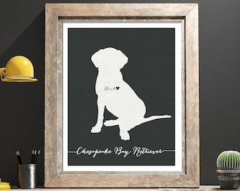 I love my dog, Chesapeake Bay Retriever, personalized dog name,  home decoration poster, digital artwork print, modern decor dog lover
