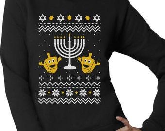 Happy Hanukkah - Ugly Christmas Sweater Women's Crewneck Sweatshirt
