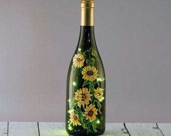 Hand painted sunflower wine bottle lamp