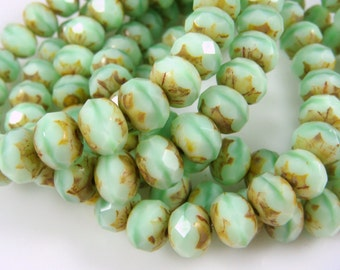 Czech Beads, 8x6mm Rondelle, Czech Glass Beads - Minty Green Picasso (R8/N-1053) - Qty 12