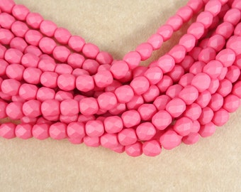 Czech Beads, 6mm Czech Glass Fire Polished Beads, 6mm Faceted Round Beads - Saturated Pink (FP6/SM-29560) - Qty. 25